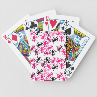 Pink lizards pattern poker deck