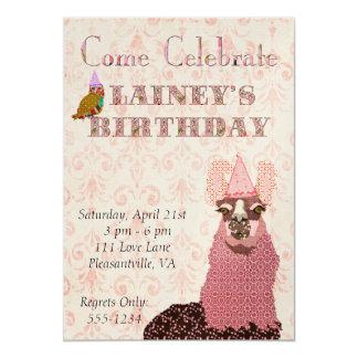 "Pink Llama Birthday Invitation 5"" X 7"" Invitation Card"