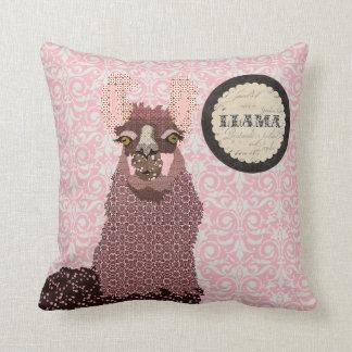 Pink Llama Blush Damask Mojo Pillow