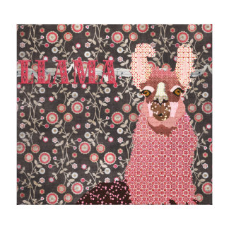 Pink Llama Brown Vintage Floral  Art Canvas Gallery Wrap Canvas