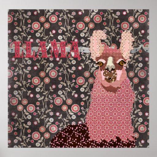 Pink Llama Brown Vintage Floral Poster