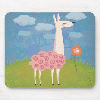 Pink Llama on Hilltop Mousepad