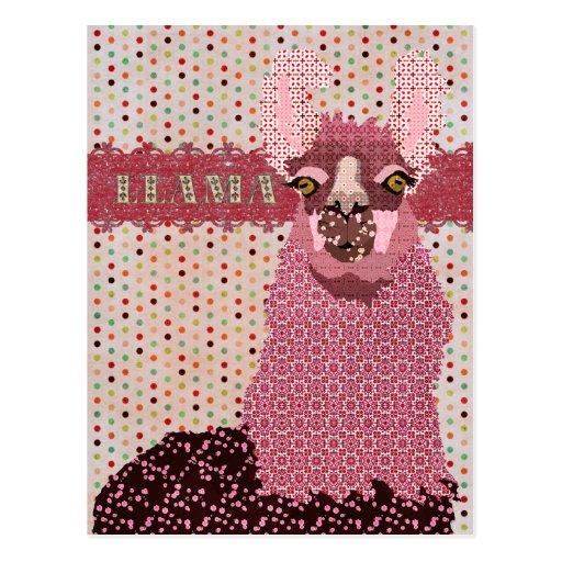 Pink Llama Pokadot Postcard