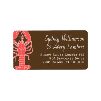 Pink Lobster Brown Two Person Address Labels
