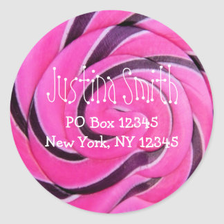 Pink Lollipop Address Classic Round Sticker