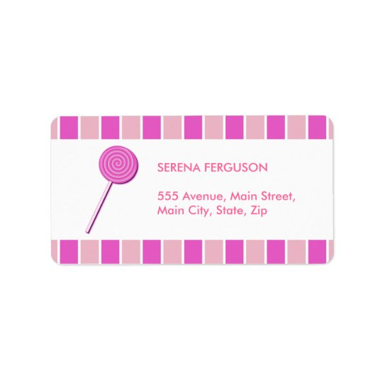 Pink Lollypop Address Label