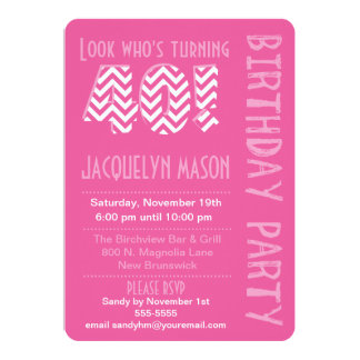 Pink Look Who's Turning 40 Birthday Invitation