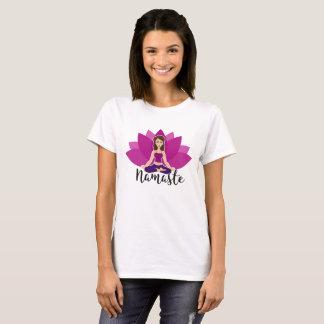 Pink lotus and Yoga girl in padmasana T-Shirt