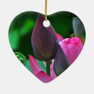 Pink Lotus Blossom Ceramic Ornament