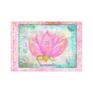 Pink Lotus Blossom Namaste yoga Canvas Print