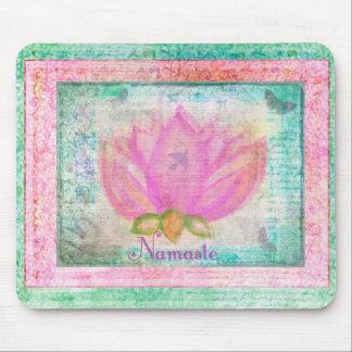 Pink Lotus Blossom Namaste yoga Mouse Pad