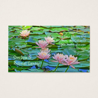 PINK LOTUS BLOSSOMS AMID GREEN LILY PADS BUSINESS CARD