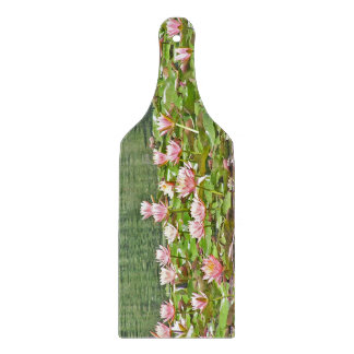 """""""PINK LOTUS BLOSSOMS & GREEN LILY PADS"""" CUTTING BOARD"""