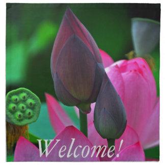 Pink Lotus Blossoms Printed Napkin