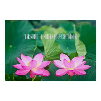 Pink Lotus Couple Inspiration Pair Pond Green Leaf Poster