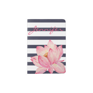 Pink Lotus Flower and Navy Stripes Passport Holder
