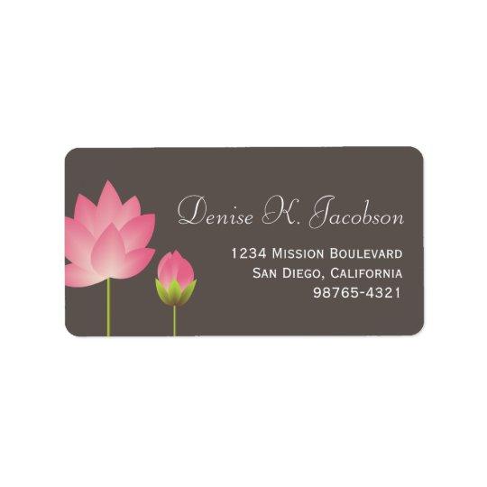 Pink lotus flower blossom grey return address address label