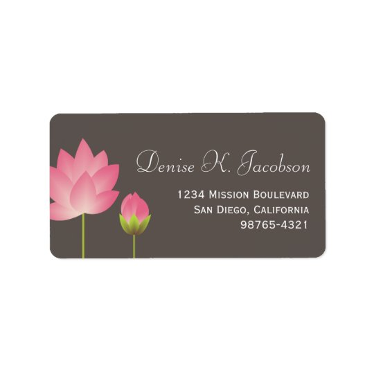 Pink lotus flower blossom grey return address label