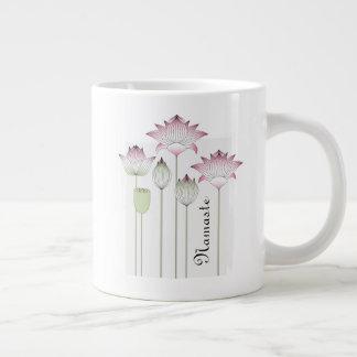Pink Lotus Flower Elegant Chic Namaste Large Coffee Mug
