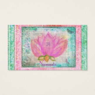Pink Lotus Flower Namaste Business Card