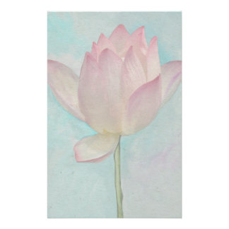 Pink Lotus Flower on Turquoise Blue Watercolor Art Stationery