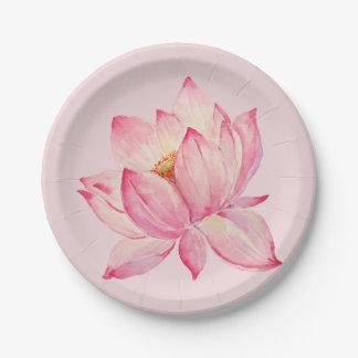 Pink Lotus Flower 7 Inch Paper Plate