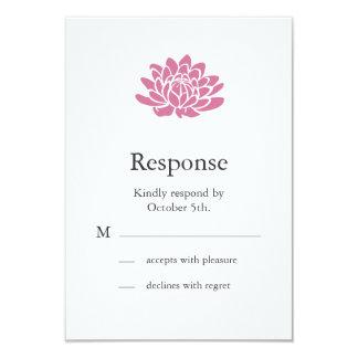 Pink Lotus Flower RSVP (white) 9 Cm X 13 Cm Invitation Card