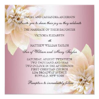 "Pink Lotus Flower Wedding 5.25"" Square Invitation Card"