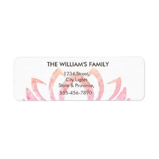 Pink Lotus Flower Yoga Meditation Massage Fitness Return Address Label