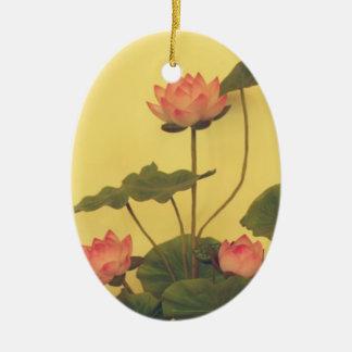 Pink Lotus flowers Ceramic Ornament