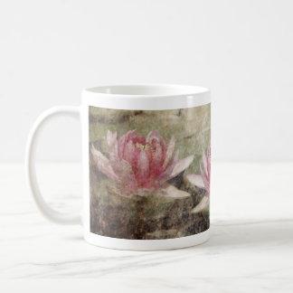 Pink Lotus Grunge Basic White Mug