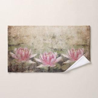 Pink Lotus Grunge Hand Towel