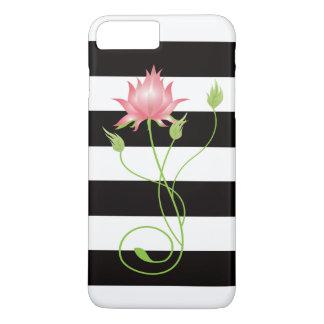 Pink Lotus Modern Stripe Floral iPhone 8 Plus/7 Plus Case