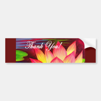 Pink Lotus Water Lily Flower Thank You - Multi Bumper Sticker