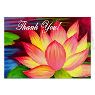 Pink Lotus Water Lily Flower Thank You - Multi Greeting Card