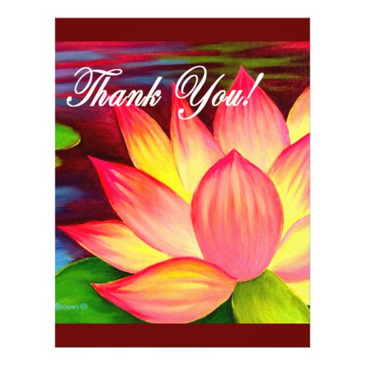 Pink Lotus Water Lily Flower Thank You - Multi Flyers