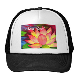 Pink Lotus Water Lily Flower Thank You - Multi Mesh Hats