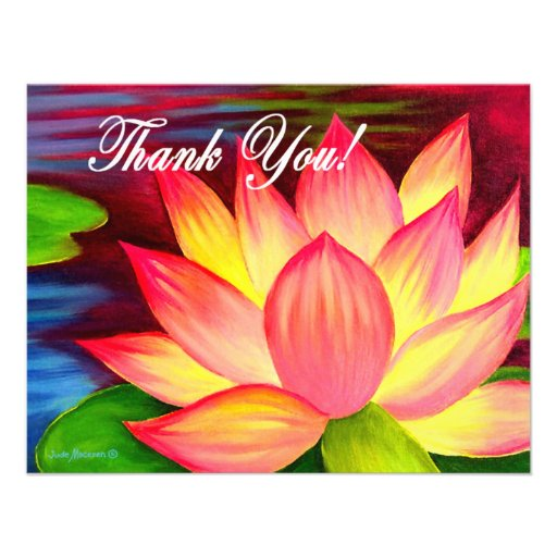 Pink Lotus Water Lily Flower Thank You - Multi Personalized Invitations