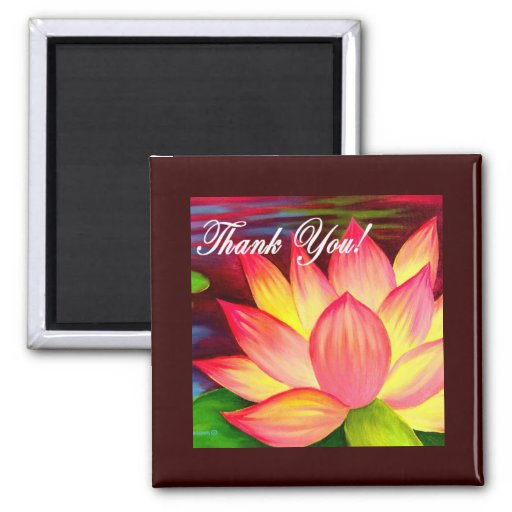 Pink Lotus Water Lily Flower Thank You - Multi Refrigerator Magnets