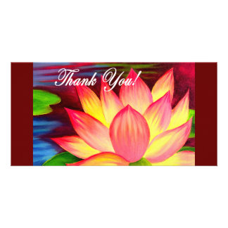 Pink Lotus Water Lily Flower Thank You - Multi Photo Cards