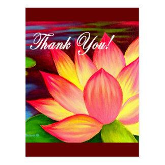 Pink Lotus Water Lily Flower Thank You - Multi Postcard