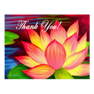 Pink Lotus Water Lily Flower Thank You - Multi Post Cards