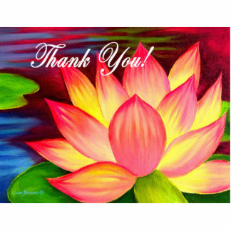 Pink Lotus Water Lily Flower Thank You - Multi Standing Photo Sculpture