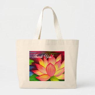 Pink Lotus Water Lily Flower Thank You - Multi Jumbo Tote Bag