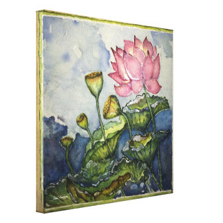 Pink Lotus Watercolor Print 12x12 Wrapped Canvas