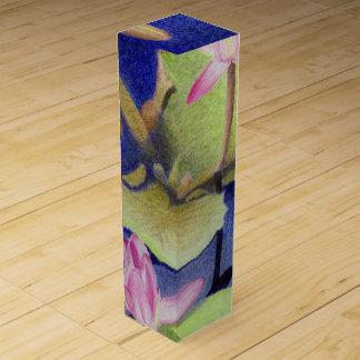 Pink Lotus Waterlilies Wine Gift Box