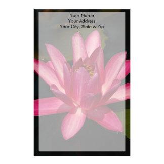 Pink Lotus Waterlily Flower Stationery