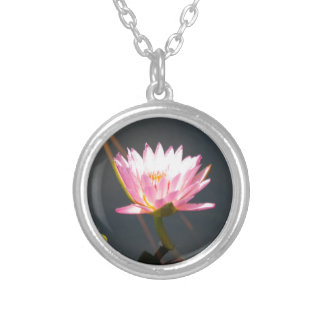 Pink Lotus Waterlily Silver Plated Necklace