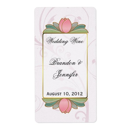 Pink Lotus Wedding Mini Wine Labels