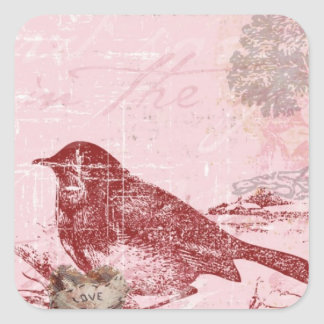 Pink Love Bird Square Sticker